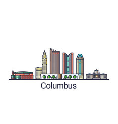 Flat line columbus banner vector