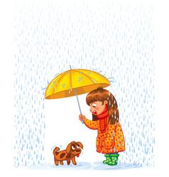 Girl under an umbrella with puppy vector