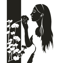 Girl with flower in black 04 vector image vector image