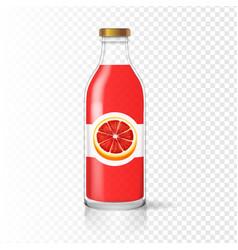 grapefruit juice bottle glass with juice label vector image