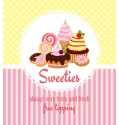 Greeting card template with sweets and candy vector image vector image