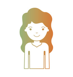 Half body woman with long wavy hair in degraded vector