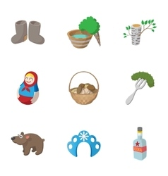 Holiday in russia icons set cartoon style vector