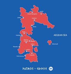 island of patmos in greece red map vector image vector image
