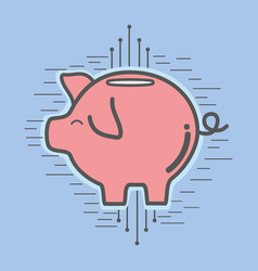 Line pig icon circuit bitcoin money currency vector