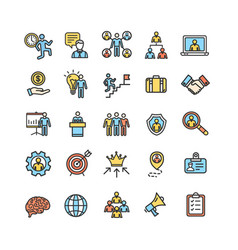 Management business color thin line icon set vector