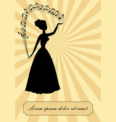 Music theme vintage design victorian lady vector