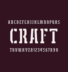 Narrow stencil-plate serif font in military style vector
