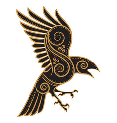 Odins raven hand-drawn in celtic style vector