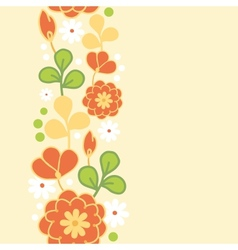 Orange kimono flowers vertical seamless pattern vector image vector image