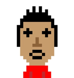 Red shirt man dizzy emoticon pixel art character vector