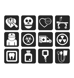 Silhouette Medicine and hospital equipment icons vector image vector image