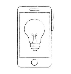Smartphone device with bulb vector