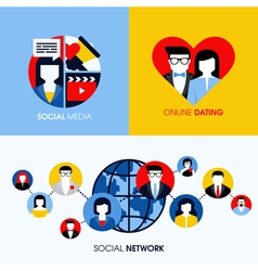 Social network social media and online dating vector
