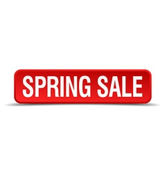 Spring sale red 3d square button isolated on white vector image