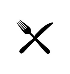 sticker contour knife and fork icon vector image vector image