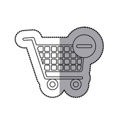 Sticker silhouette with shopping cart and minus vector