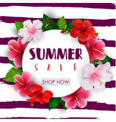 summer sale round background with tropical flowers vector image