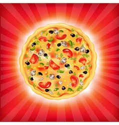 Sunburst background with pizza vector