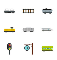 Train icons set flat style vector