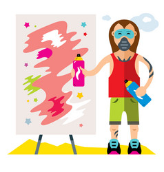 Urban graffiti artist flat style colorful vector