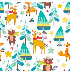 winter seamless pattern with a christmas forest vector image vector image