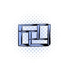 Wooden shelf comics icon vector