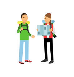 young couple traveling with hiking backpacks on vector image