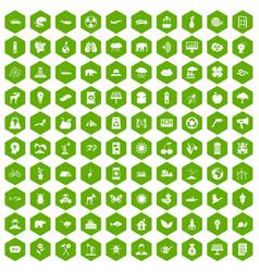 100 eco care icons hexagon green vector