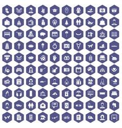 100 family icons hexagon purple vector