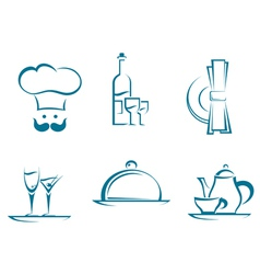 Restaurant icons and symbols vector image