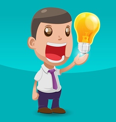 Man hold lamp idea worker happy vector