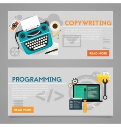 Programming and copywriting concept banners vector