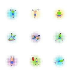 Gym icons set pop-art style vector