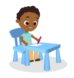 Young african american boy paints sitting at a vector
