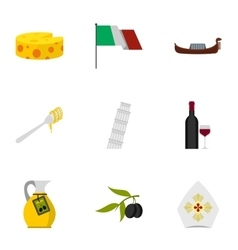 Italian traditional elements icons set flat style vector