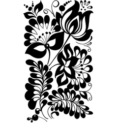Black and white flowers and leaves vector