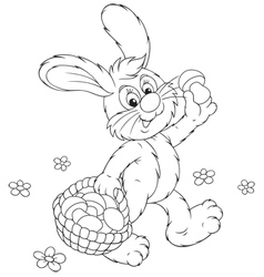 Bunny with a basket of mushrooms vector
