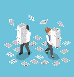Isometric stressful businessman holding stack of vector
