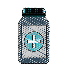 Color crayon stripe cartoon remedy bottle with lid vector