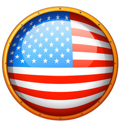 Flag of america in round badge vector