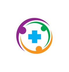 circle human plus healthcare logo vector image