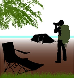Photographer with camping vector