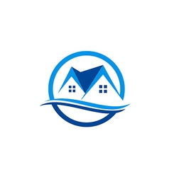 House realty roof construction logo vector