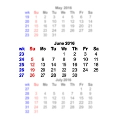 June 2016 calendar week starts on sunday vector