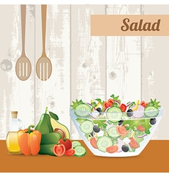 Fresh vegetables salad with olive oil vector