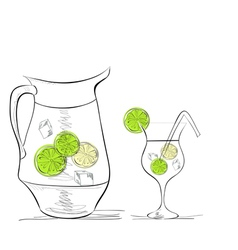 A glass of water with lime and pitcher vector