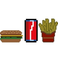 Fast food in pixel-art style vector image