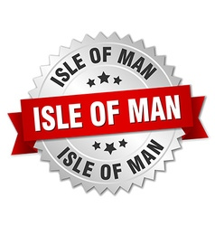 Isle of man round silver badge with red ribbon vector