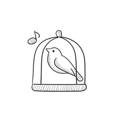 Bird singing in cage sketch icon vector image